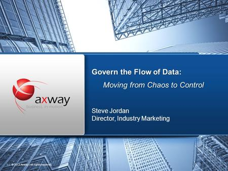 | © 2013 Axway | All rights reserved. 1 Govern the Flow of Data: Moving from Chaos to Control Steve Jordan Director, Industry Marketing.