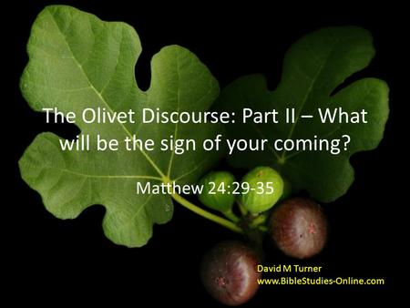 The Olivet Discourse: Part II – What will be the sign of your coming? Matthew 24:29-35 David M Turner www.BibleStudies-Online.com.