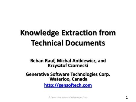 Knowledge Extraction from Technical Documents Knowledge Extraction from Technical Documents *With first class-support for Feature Modeling Rehan Rauf,