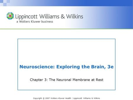 Copyright © 2007 Wolters Kluwer Health | Lippincott Williams & Wilkins Neuroscience: Exploring the Brain, 3e Chapter 3: The Neuronal Membrane at Rest.