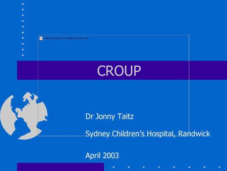 Dr Jonny Taitz Sydney Children's Hospital, Randwick April 2003
