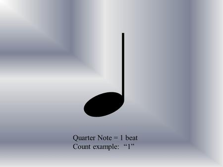 Quarter Note = 1 beat Count example: 1. Eighth Notes = 1/2 beat Count example: 1 & Or single…