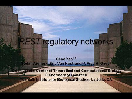 REST regulatory networks Gene Yeo 1,2 Stefan Aigner 2, Eric Van Nostrand 1,2, Fred H. Gage 2 1 Crick-Jacobs Center of Theoretical and Computational Biology.