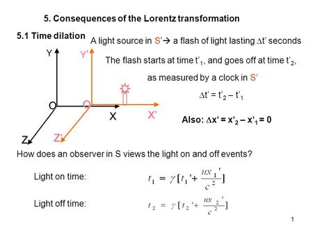 1 5. Consequences of the Lorentz transformation 5.1 Time dilation ZYX O Z Y X O The flash starts at time t 1, and goes off at time t 2, A light source.