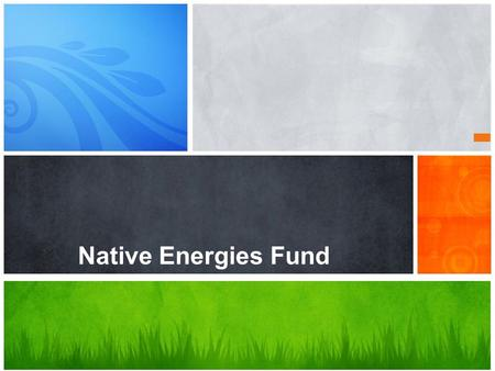 Native Energies Fund. Executive Summary Substantial income, energy access and infrastructure gaps exist between First Nations and the rest of Canada.