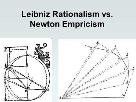 Leibniz Rationalism vs. Newton Empricism. Newtons space Three dimensional Infinite (in all directions) Homogeneous (isotropic)