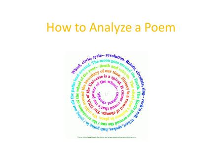 How to Analyze a Poem. Copy the following poem in your notes. Beauty By E-Yeh_Shure s Beauty is seen In the sunlight, The trees, the birds, Corn growing.