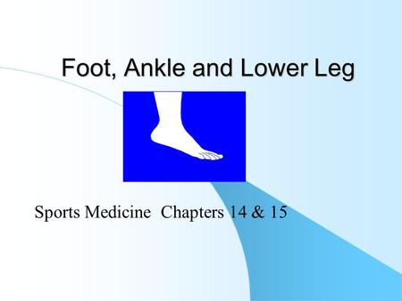 Foot, Ankle and Lower Leg Sports Medicine Chapters 14 & 15.