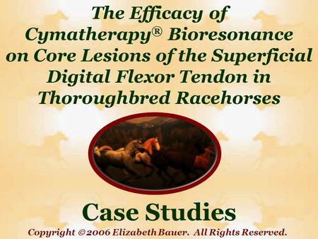 The Efficacy of Cymatherapy ® Bioresonance on Core Lesions of the Superficial Digital Flexor Tendon in Thoroughbred Racehorses Case Studies Copyright 2006.