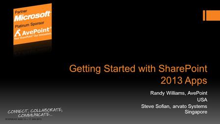 Getting Started with SharePoint 2013 Apps Randy Williams, AvePoint USA Steve Sofian, arvato Systems Singapore.
