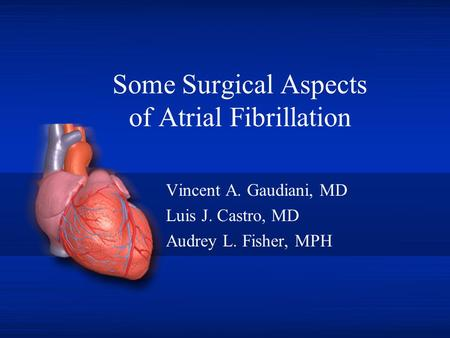 Some Surgical Aspects of Atrial Fibrillation Vincent A. Gaudiani, MD Luis J. Castro, MD Audrey L. Fisher, MPH.