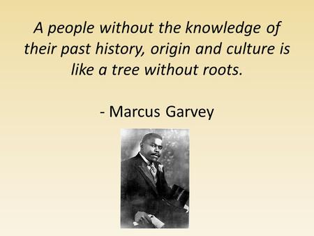 A people without the knowledge of their past history, origin and culture is like a tree without roots. - Marcus Garvey.