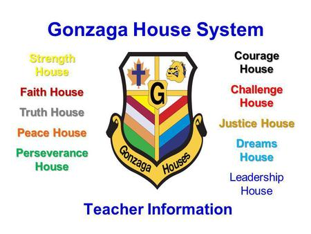 Gonzaga House System Teacher Information Strength House Faith House Truth House Peace House Perseverance House Courage House Challenge House Justice House.