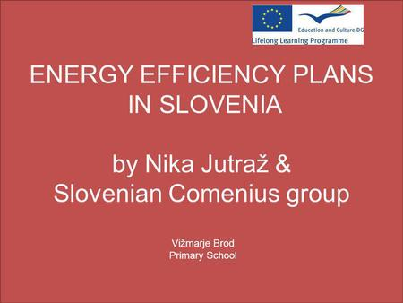 ENERGY EFFICIENCY PLANS IN SLOVENIA by Nika Jutraž & Slovenian Comenius group Vižmarje Brod Primary School.