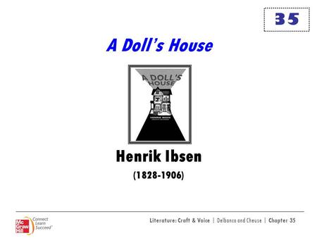 Literature: Craft & Voice | Delbanco and Cheuse | Chapter 35 A Dolls House Henrik Ibsen (1828-1906) 35.