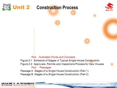 Unit 2 Construction Process Part Illustrated Words and Concepts Figure 2-1 Schedule of Stages in Typical Single House Construction Figure 2-2 Approvals,