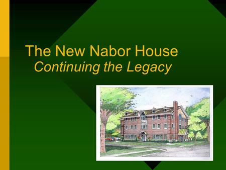 The New Nabor House Continuing the Legacy. Whats up with winged foot? New era in Agriculture 5 founders Education Cooperation Recreation.