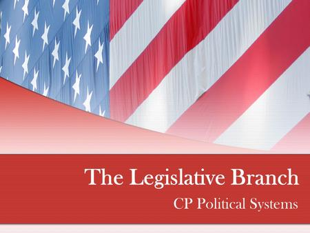 The Legislative Branch CP Political Systems. Congress 101 Article I of the U.S. Constitution creates a bicameral (two house) legislature Result of Connecticut.