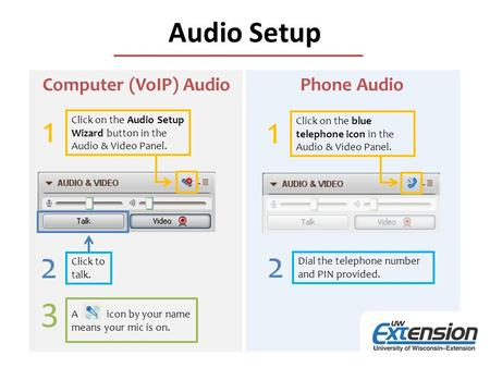 Audio Setup Click on the Audio Setup Wizard button in the Audio & Video Panel. Click to talk. A icon by your name means your mic is on. 1 2 3 Click on.