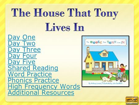 Day One Day Two Day Three Day Four Day Five Shared Reading Word Practice Phonics Practice High Frequency Words Additional Resources.