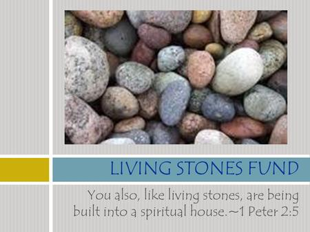 You also, like living stones, are being built into a spiritual house.~1 Peter 2:5 LIVING STONES FUND.
