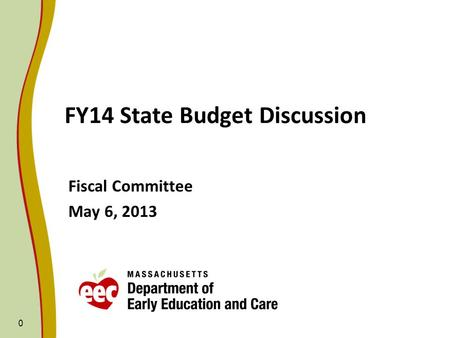0 FY14 State Budget Discussion Fiscal Committee May 6, 2013.