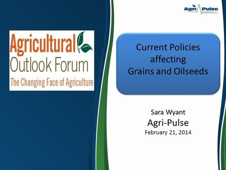 Current Policies affecting Grains and Oilseeds Sara Wyant Agri-Pulse February 21, 2014.