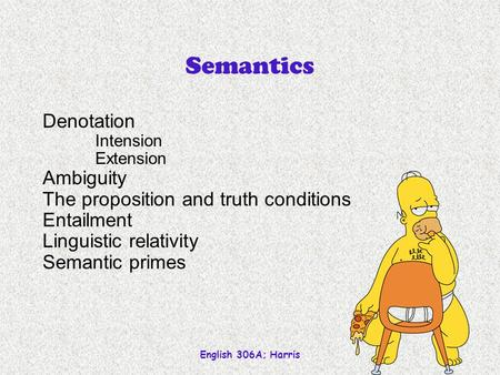 English 306A; Harris 1 Semantics Denotation Intension Extension Ambiguity The proposition and truth conditions Entailment Linguistic relativity Semantic.