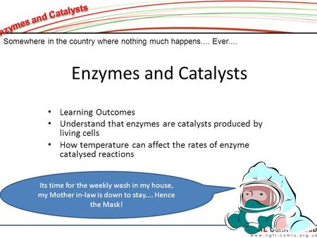 Enzymes and Catalysts Learning Outcomes Understand that enzymes are catalysts produced by living cells How temperature can affect the rates of enzyme catalysed.