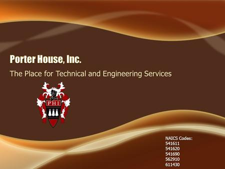 The Place for Technical and Engineering Services NAICS Codes: 541611 541620541690562910611430.