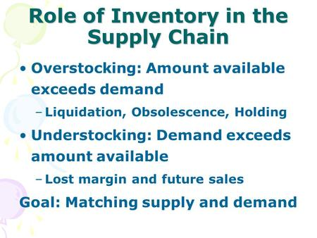 Role of Inventory in the Supply Chain Overstocking: Amount available exceeds demand –Liquidation, Obsolescence, Holding Understocking: Demand exceeds amount.