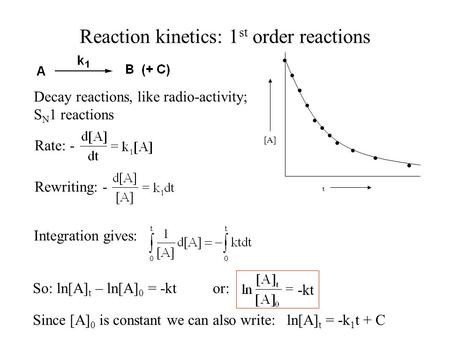 Reaction kinetics: 1 st order reactions [A] t Decay reactions, like radio-activity; S N 1 reactions Rate: - Rewriting: - Integration gives: So: ln[A] t.
