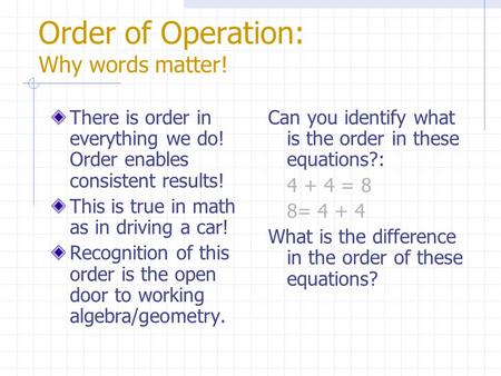 Order of Operation: Why words matter! There is order in everything we do! Order enables consistent results! This is true in math as in driving a car!