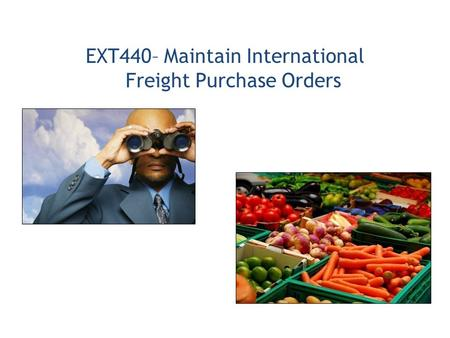 EXT440– Maintain International Freight Purchase Orders.