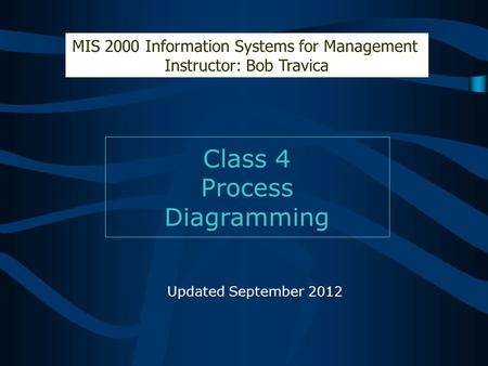 Class 4 Process Diagramming MIS 2000 Information Systems for Management Instructor: Bob Travica Updated September 2012.