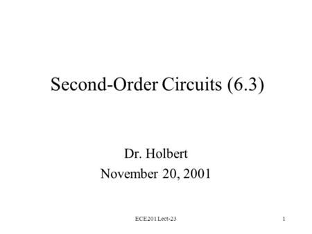 Second-Order Circuits (6.3)