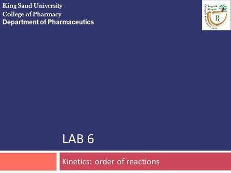 Kinetics: order of reactions