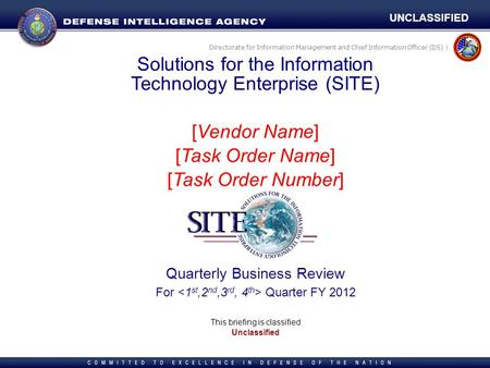 Directorate for Information Management and Chief Information Officer (DS) | Solutions for the Information Technology Enterprise (SITE) [Vendor Name] [Task.