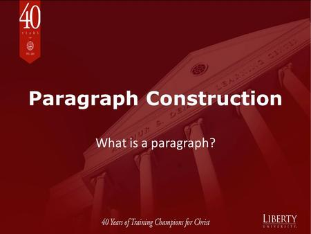 Paragraph Construction What is a paragraph?. After sentences, paragraphs are the next order of organization for written English communication. 1 A paragraph.