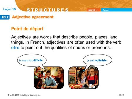 © and ® 2011 Vista Higher Learning, Inc.1B.2-1 Point de départ Adjectives are words that describe people, places, and things. In French, adjectives are.