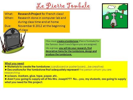 Le Pierre Tombale You must create a tombstone (Pierre Tombale) for the famous dead French figure you are assigned. As a group, you will do your research,