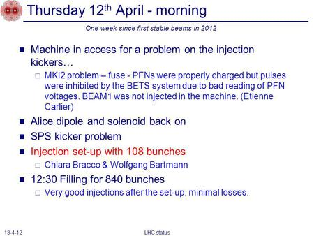 Thursday 12 th April - morning Machine in access for a problem on the injection kickers… MKI2 problem – fuse - PFNs were properly charged but pulses were.