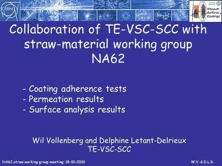 Collaboration of TE-VSC-SCC with straw-material working group NA62