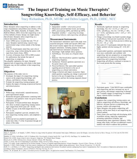 The Impact of Training on Music Therapists' Songwriting Knowledge, Self-Efficacy, and Behavior Tracy Richardson, Ph.D., MT-BC and Debra Leggett, Ph.D.,