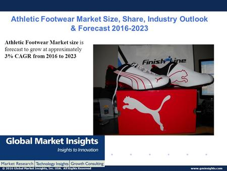 © 2016 Global Market Insights, Inc. USA. All Rights Reserved www.gminsights.com Athletic Footwear Market Size, Share, Industry Outlook & Forecast 2016-2023.