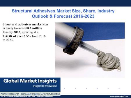 © 2016 Global Market Insights, Inc. USA. All Rights Reserved www.gminsights.com Structural Adhesives Market Size, Share, Industry Outlook & Forecast 2016-2023.