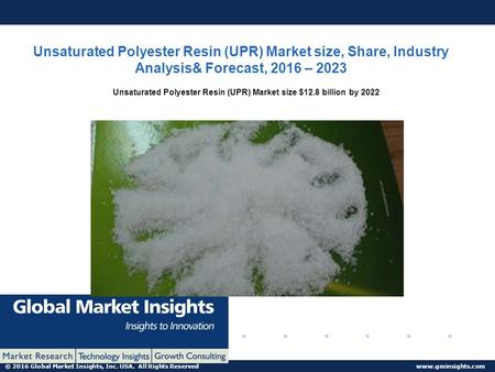 © 2016 Global Market Insights, Inc. USA. All Rights Reserved www.gminsights.com Unsaturated Polyester Resin (UPR) Market size, Share, Industry Analysis&