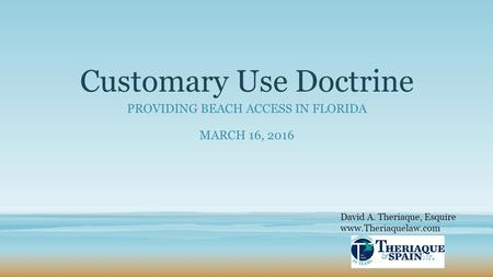 Customary Use Doctrine PROVIDING BEACH ACCESS IN FLORIDA MARCH 16, 2016 David A. Theriaque, Esquire