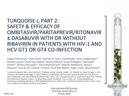 TURQUOISE-I, PART 2: SAFETY & EFFICACY OF OMBITASVIR/PARITAPREVIR/RITONAVIR ± DASABUVIR WITH OR WITHOUT RIBAVIRIN IN PATIENTS WITH HIV-1 AND HCV GT1 OR.