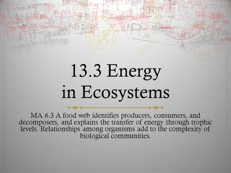 13.3 Energy in Ecosystems MA 6.3 A food web identifies producers, consumers, and decomposers, and explains the transfer of energy through trophic levels.
